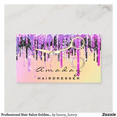 Professional Hair Salon Golden Scissors Drips Business Card
