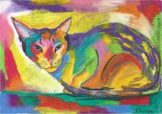 Hey, I found this really awesome Etsy listing at https://www.etsy.com/listing/199078954/cute-cat-vibrant-colors-chalk-pastel