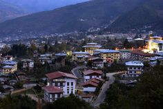 Bhutanese buildings, looking out over Thimphu. ~ Bhutan