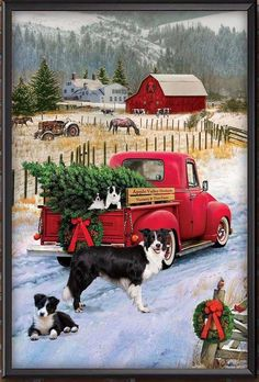 Merry Christmas to all! Christmas Red Truck, Merry Christmas To All, Christmas Scenes, Christmas Cats, Country Christmas, Vintage Christmas Images, Christmas Pictures, Border Collie Art, Pintura Country