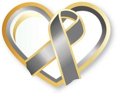 Pediatric brain cancer awareness uses a gray and gold awareness ribbon