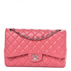 c3f9723a9c9485 This is an authentic CHANEL Lambskin Quilted Jumbo Double Flap in Pink.  This handbag is