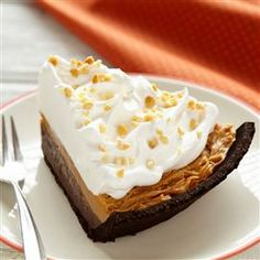 Spiced Pumpkin and Chocolate Peanut Butter Pie Recipe Desserts with chocolate instant pudding, half & half, crust, peanut butter, frozen whip topping, thaw, peanuts