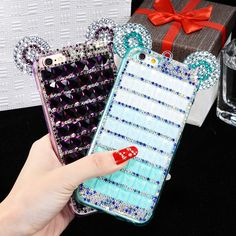 Fashion Luxury Case For iPhone6/6s Plus Mickey Mouse Ears Rhinestone Cases iPhone 5/5s 4s Diamond Skin Glitter DIY Bling Cover