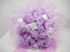 Wedding Bouquet, Bridal Brooch Bouquet, Purple Bouquet, Deposit on Vintage brooch bouquet -- made to order bridal bouquet