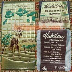 Vintage Hukilau Resorts Hawaii Matchbook Kona Hula Dancer Waikiki Honolulu Kitschy souvenir