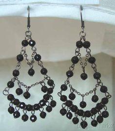 black beaded chandelier earring