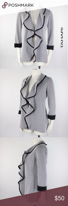 """Tahari Waterfall Open Front Tweed 3/4 Blazer 827 Tahari Women's Black White Honeycomb Midweight Knit Open Front Blazer.  Ruffle Draped Collar.  3/4 Sleeves with Contrasting Cuff. Unlined. Cocktail, Work, Casual Appropriate. Retails $129 Size: 2  Shoulder: 15""""  Sleeves: 20""""  Armpit to Armpit: 20""""  Length: 28""""  Condition: Very Good!  Color: Black White Pattern: Honeycomb Material: 60% Cotton, 38% Polyester, 2% Spandex Country: China Care: Dry Clean WT: 1.02 CSKU: 827; 3.5 All measurements are…"""