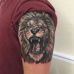 Top 30 Excellent Roaring Lion Tattoo Ideas // March, 2020 - Find brilliant ideas about powerful roaring lion tattoo for your body - Lion Head Tattoos, Mens Lion Tattoo, Leo Tattoos, Animal Tattoos, Body Art Tattoos, Tattoos For Guys, Tatoos, Lion Tattoo Sleeves, Sleeve Tattoos