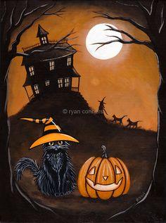 Halloween Night Original Halloween Black Cat Folk Art Painting by KilkennycatArt