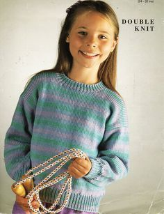 """childrens striped sweater knitting pattern PDF round neck jumper 24-32"""" DK light worsted 8ply Instant Download by Minihobo on Etsy"""