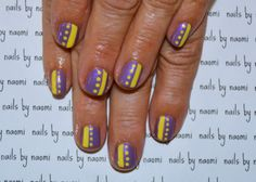 These are amazing nails for beginning nail artists who want some good practice with both a dotting tool and striping brush. After cleaning, filing the nails, and applying a base coat: 1. apply two thin coats of a light purple opalescent polish 2. use...