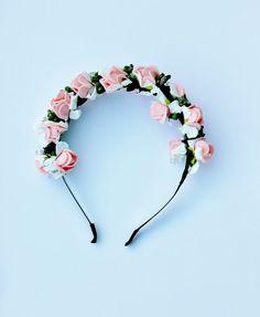 garden flowers pinks head crown headband, hair wreath, statement, love, woodland