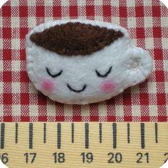 cute felt coffee cup pin By Memi the Rainbow