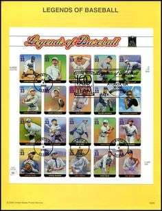 Pane Includes: 3408a Jackie Robinson / 3408b Eddie Collins / 3408c Christy Mathewson / 3408d Ty Cobb / 3408e George Sisler / 3408f Rogers Hornsby / 3408g Mickey Cochrane / 3408h Babe Ruth / 3408i Walter Johnson / 3408j Roberto Clemente / 3408k Lefty Grove / 3408l Tris Speaker / 3408m Cy Young / 3408n Jimmie Foxx / 3408o Pie Traynor / 3408p Satchel Paige / 3408q Honus Wagner / 3408r Josh Gibson / 3408s Dizzy Dean and 3408t Lou Gehrig. These 8 x 10-1/2 inch pages are printed on tinted bond…
