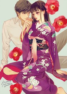 Kai Fine Art is an art website, shows painting and illustration works all over the world. Anime Kimono, Manga Anime, Girls Anime, Anime Art Girl, Manga Girl, Couple Manga, Couple Art, Manga Illustration, Digital Illustration