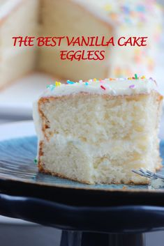 This vanilla cake is light fluffy and super moist it has fine and soft crumb and is very easy to make moist vanilla cake recipe from scratch Eggless Vanilla Cake Recipe, Vegan Vanilla Cake, Moist Vanilla Cake, Eggless Desserts, Eggless Recipes, Eggless Baking, Easy Cake Recipes, Best Vanilla Cake Recipe Moist, Eggless Birthday Cake Recipe