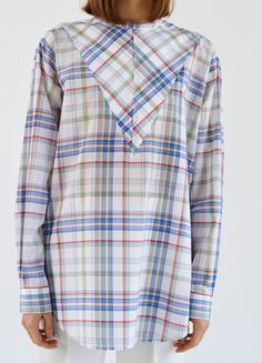 Long Sleeves Shirt in Multicolour Madras - Céline