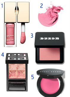 Perfect Wedding Makeup  1. Clarins Instant Light Blush in Vitamin Pink. 2. Sonia Kashuk Powder Blush in Flushed. 3. Buxom True Hue Blush in Swept Away. 4. Givenchy Le Prisme Blush Bucolique in Bucolic Rose. 5. Bobbi Brown Pot Rouge for Lip & Cheeks in Raspberry.