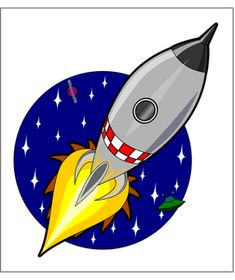 Cartoon rocket by Kliponius - A cartoon, style rocket blasting into space with stars, a planet and a flying saucer in the background. Space Party, Space Theme, Ufo, Imaginative Writing, Fathers Day Cake, Clip Art, Flying Saucer, A Cartoon, Transfer Paper