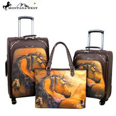 Montana West Horse Art 3 PC Luggage Set -Laurie