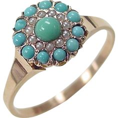 Victorian 10k Rose Gold Turquoise and Seed Pearl Ring