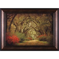 Road Lined with Oaks and Flowers by William Guion Framed Photographic... ($180) ❤ liked on Polyvore featuring home, home decor, wall art, photographic wall art, flower home decor, blossom wall art, framed wall art and flower stem