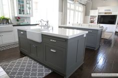 Cabinets -- How to Paint Them Island: Chelsea Gray, Benjamin Moore Tips For Getting To Know Luxury B Grey Kitchen Island, Grey Kitchen Cabinets, Kitchen Cabinet Colors, Painting Kitchen Cabinets, Kitchen Paint, Kitchen Colors, Kitchen Countertops, New Kitchen, Gray Island