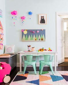 Colorful playroom decor inspiration. Baby animal bear art print available on Minted.com and by Minted artist, Cast Loh. Photo by @em_henderson