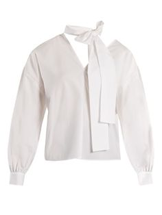 Click here to buy MSGM Tie-neck cotton-poplin top at MATCHESFASHION.COM