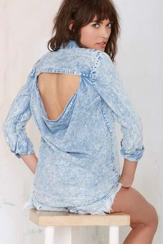 Finders Keepers Peacekeeper Acid Wash Chambray Shirt