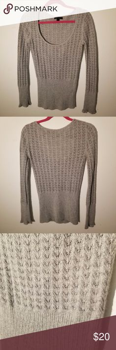 """Silver Gray Shimmer Sweater Angora Rabbit and Wool Express Medium Sweater Gray Angora Rabbit Hair Lambs Wool w/ Metallic Threading  The pictures do not accurately display the sparkle this sweater has. Metallic thread has been woven throughout to give it a beautiful shimmer/sparkle.  Measurements: Total Length 25"""" Across Chest 16"""" Sleeve 26"""" 365-09 Express Sweaters Crew & Scoop Necks"""