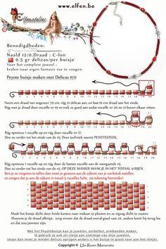 Gratis patronen | Elfenatelier Necklace Tutorial, Peyote Stitch, Bead Weaving, Beading Patterns, Seed Beads, Between, Beadwork, Tutorials, Jewellery