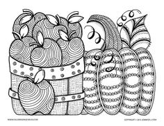 Autumn coloring page for grown ups and adults. Apples and pumpkin to color for fall and thanksgiving. Downloadable coloring pages full of detail