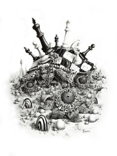 Twisted Chess. Original surreal turtle by ArtwaveStudio on Etsy