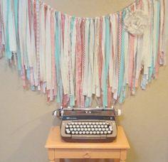 Custom Wedding FABRIC GARLAND Ribbon BANNER  - Shabby Chic, Romantic, Modern, Rustic, Handmade, Nursery, Shower, Party, Any Color, Any Size