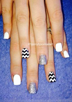 chevron nail art for short nails