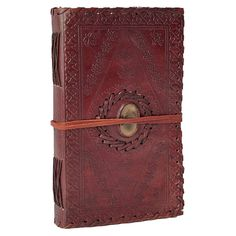 Agate Stone Inlay Medium Leather Journal