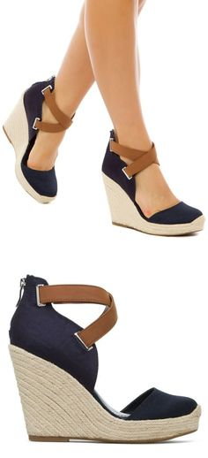 2c6740d93d5 Zapatos de mujer - Womens Shoes - Navy Woven Wedges    Looks comfy!  Something I can wear and chase the bus down the street!