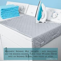 Magnetic Ironing Mat, turns your washer dryer into an ironing board, then folds up after.