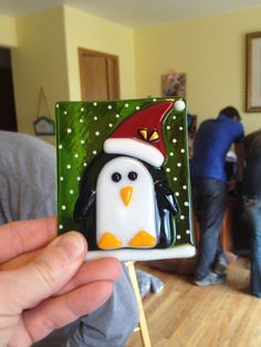 fused glass penguin