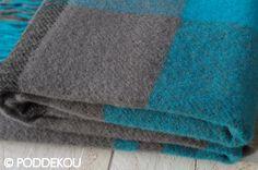Vlnená deka tyrkysovo-sivá károvaná