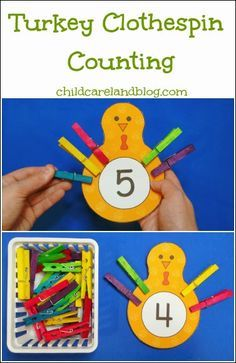 Practice counting and fine motor skills Turkey Clothespin Counting from childcareland blog. (Repinned by Super Simple Songs.)