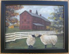 Pam Britton Primitive Sheep Pictures Framed Country Picture Print For Interior | eBay
