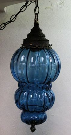 Blue Glass Hanging Swag Lamp Vintagelamp In 2019 Bedroom Antique Lamps, Vintage Lamps, Vintage Lighting, Vintage Decor, Bohemian Lighting, Chandeliers, Large Lamps, Retro Lamp, Swag Light