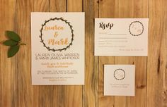 Peach & Green Leaves Wreath Wedding Invitation by Rusticpapers