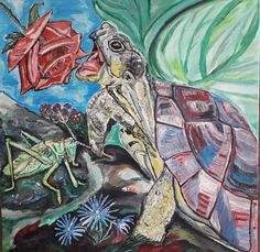 Schildkröte, turtle, Heuschrecke, grashopper, Acrylmalerei, Acrylicpaintings, paintings, Acryl und Sand auf Leinwand, acrylic and sand on canvas, 2018 Grashopper, Comic Books, Comics, Cover, Painting, Art, Canvas, Art Background, Painting Art