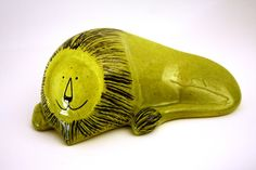 Italian Ceramic BALDELLI Abstract Green Lion