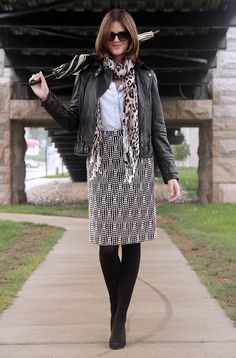 Fashion Blog, Indiana Blogger, Fashion Blogger in Indiana, Personal Style Blogger, Jessica Quirk, @whatiwore, What I Wore, What I Wore Today, Leather moto jacket, Leopard Scarf, What to wear with a leopard scarf, how to wear a leopard scarf