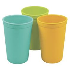 Recycled Drinking Cups 3-Pack: Toddlers love these recycled cups for their just-right size and appealing colors! You'll love them because they're durable, lightweight, and top-rack dishwasher-safe. And Mother Earth loves them because they're made from plastic milk jugs, which saves energy and landfill space. Easy for little hands to hold. FDA-approved, BPA-free. Each pack contains three colors as shown.